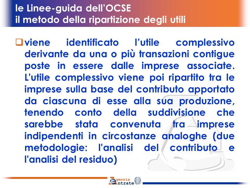 le Linee-guida dellOCSE il metodo della ripartizione degli utili viene identificato lutile complessivo derivante da una o più transazioni contigue pos