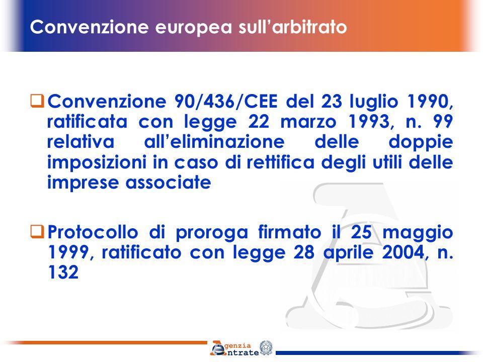 Convenzione europea sullarbitrato eliminazione della doppia imposizione economica entro limiti di tempo ragionevoli 1.