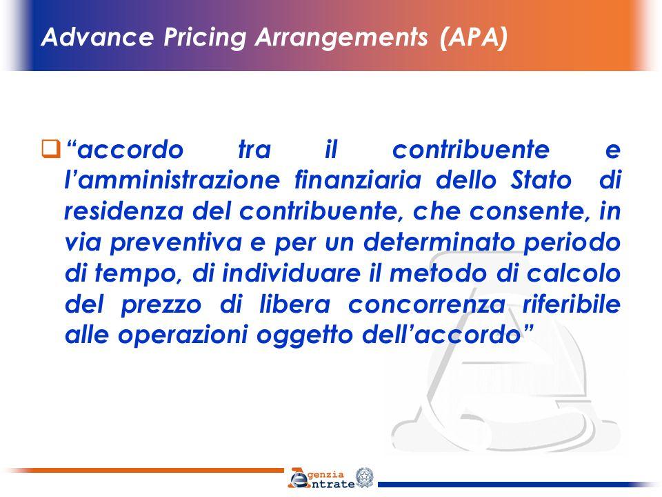 Advance Pricing Arrangements (APA) presupposto domestico degli APA : ruling di standard internazionale, (art.