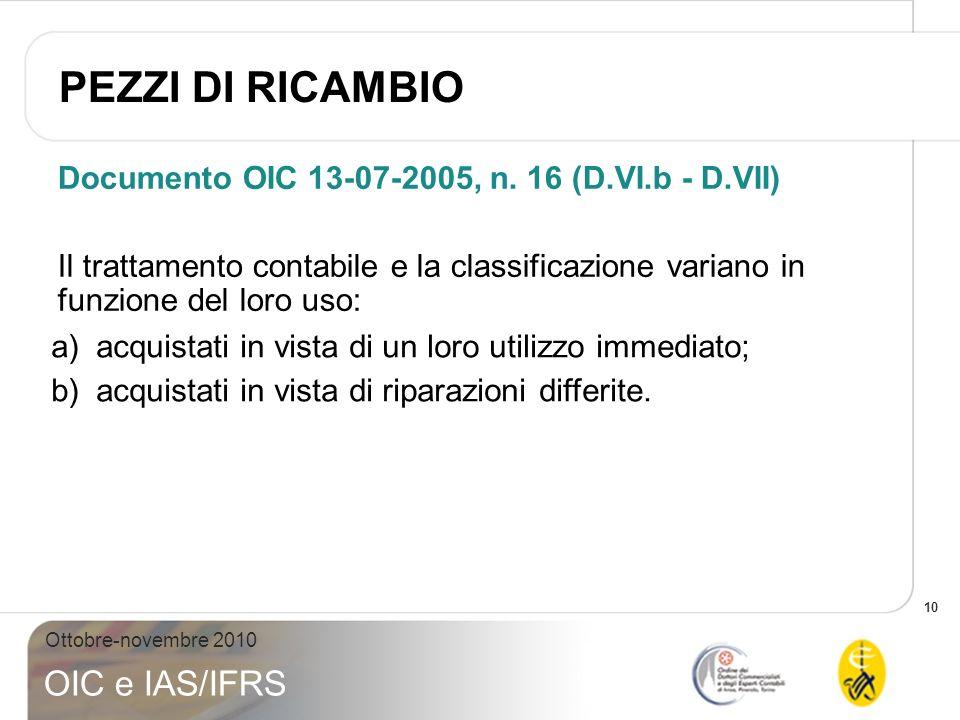 10 Ottobre-novembre 2010 OIC e IAS/IFRS Documento OIC 13-07-2005, n. 16 (D.VI.b - D.VII) Il trattamento contabile e la classificazione variano in funz