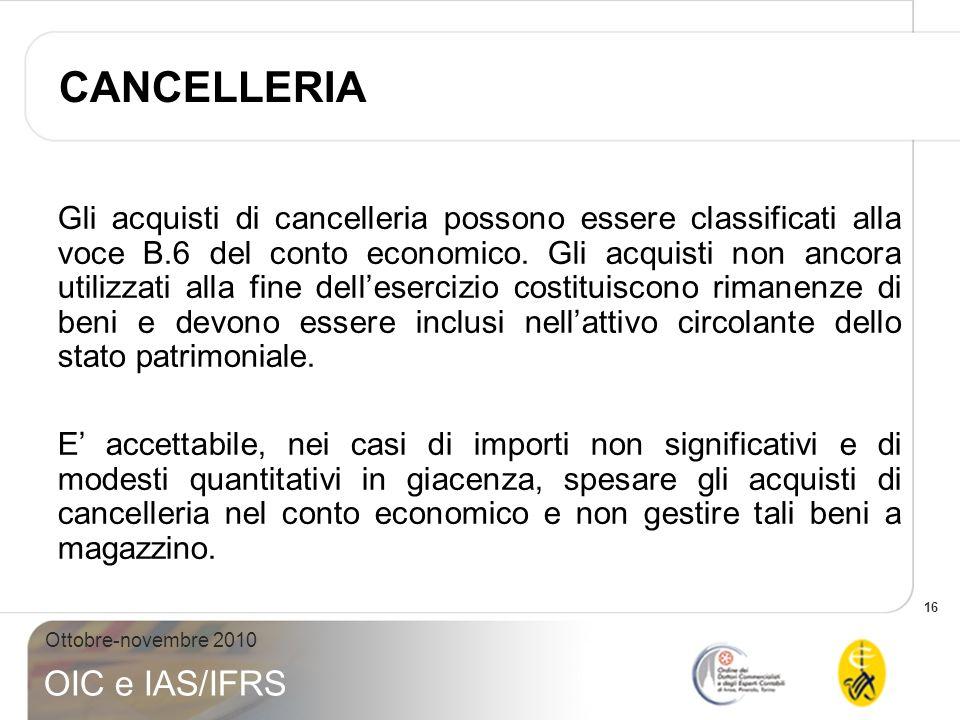 16 Ottobre-novembre 2010 OIC e IAS/IFRS Gli acquisti di cancelleria possono essere classificati alla voce B.6 del conto economico. Gli acquisti non an