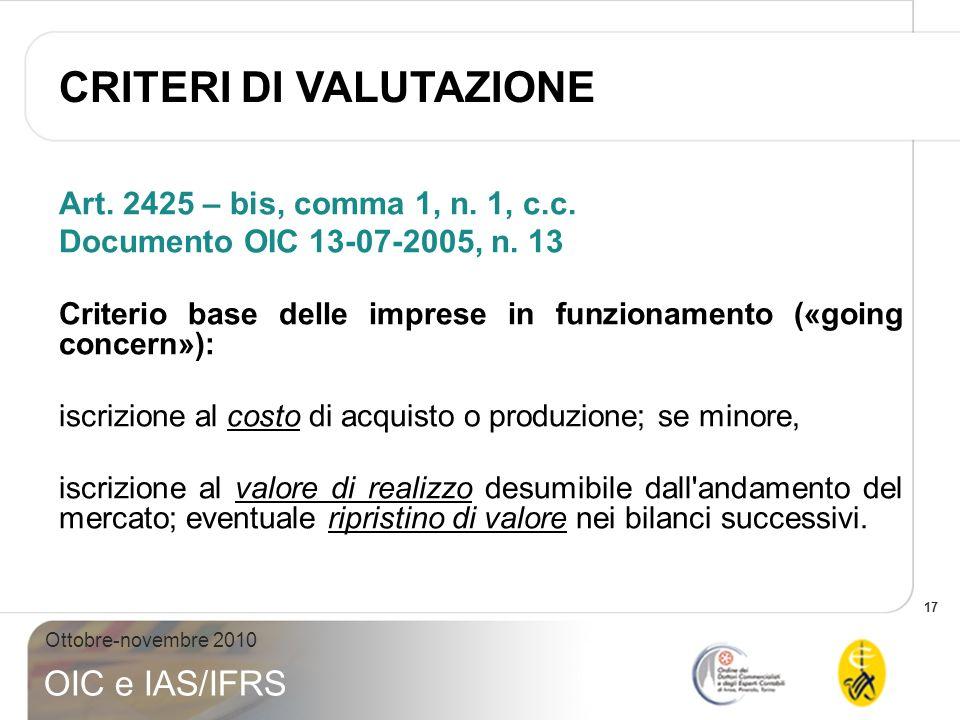 17 Ottobre-novembre 2010 OIC e IAS/IFRS Art. 2425 – bis, comma 1, n. 1, c.c. Documento OIC 13-07-2005, n. 13 Criterio base delle imprese in funzioname