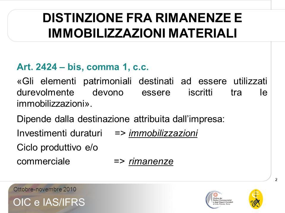 2 Ottobre-novembre 2010 OIC e IAS/IFRS Art. 2424 – bis, comma 1, c.c. «Gli elementi patrimoniali destinati ad essere utilizzati durevolmente devono es