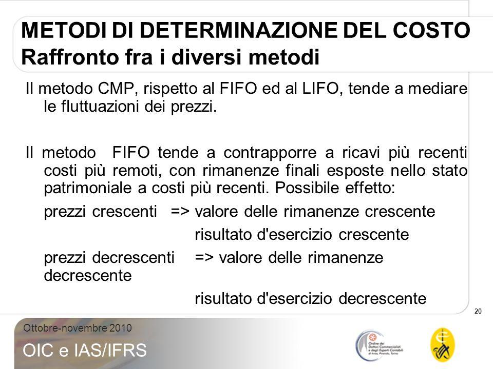 20 Ottobre-novembre 2010 OIC e IAS/IFRS METODI DI DETERMINAZIONE DEL COSTO Raffronto fra i diversi metodi Il metodo CMP, rispetto al FIFO ed al LIFO,