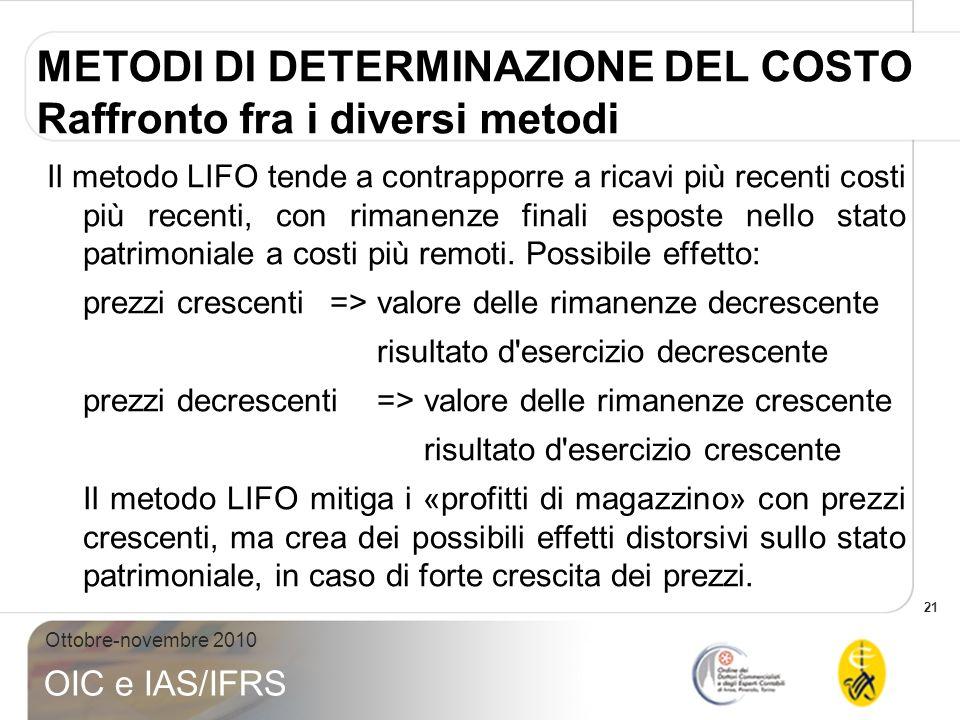 21 Ottobre-novembre 2010 OIC e IAS/IFRS METODI DI DETERMINAZIONE DEL COSTO Raffronto fra i diversi metodi Il metodo LIFO tende a contrapporre a ricavi