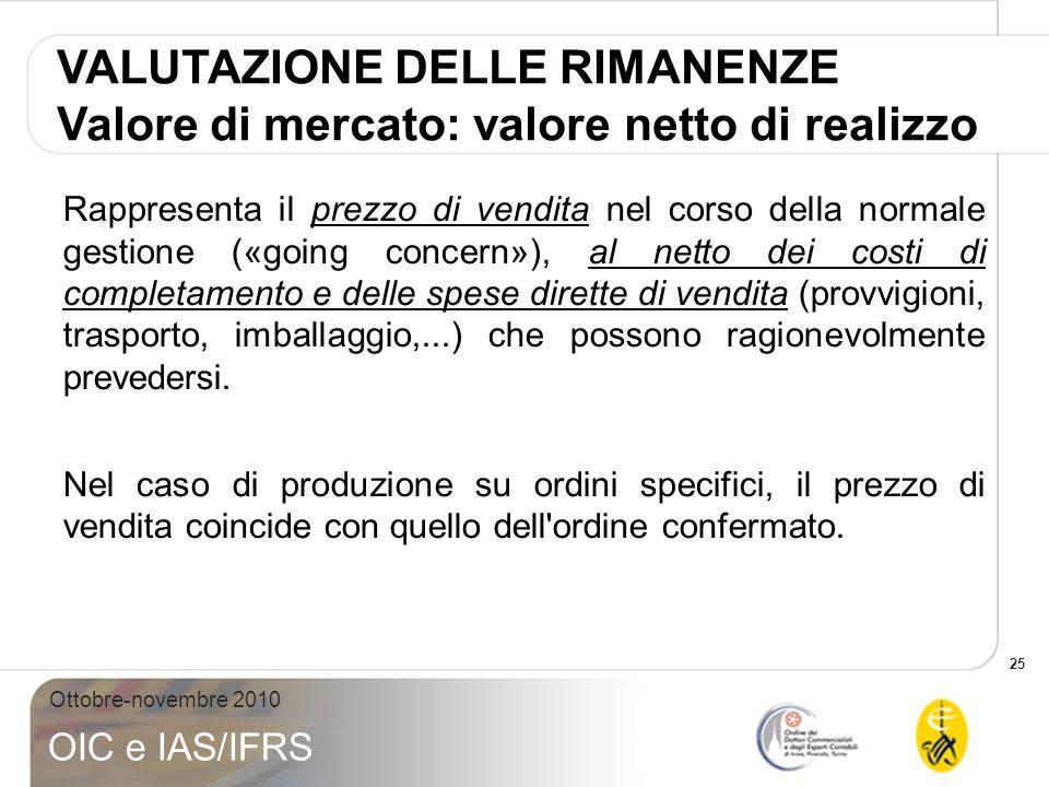 25 Ottobre-novembre 2010 OIC e IAS/IFRS VALUTAZIONE DELLE RIMANENZE Valore di mercato: valore netto di realizzo Rappresenta il prezzo di vendita nel c