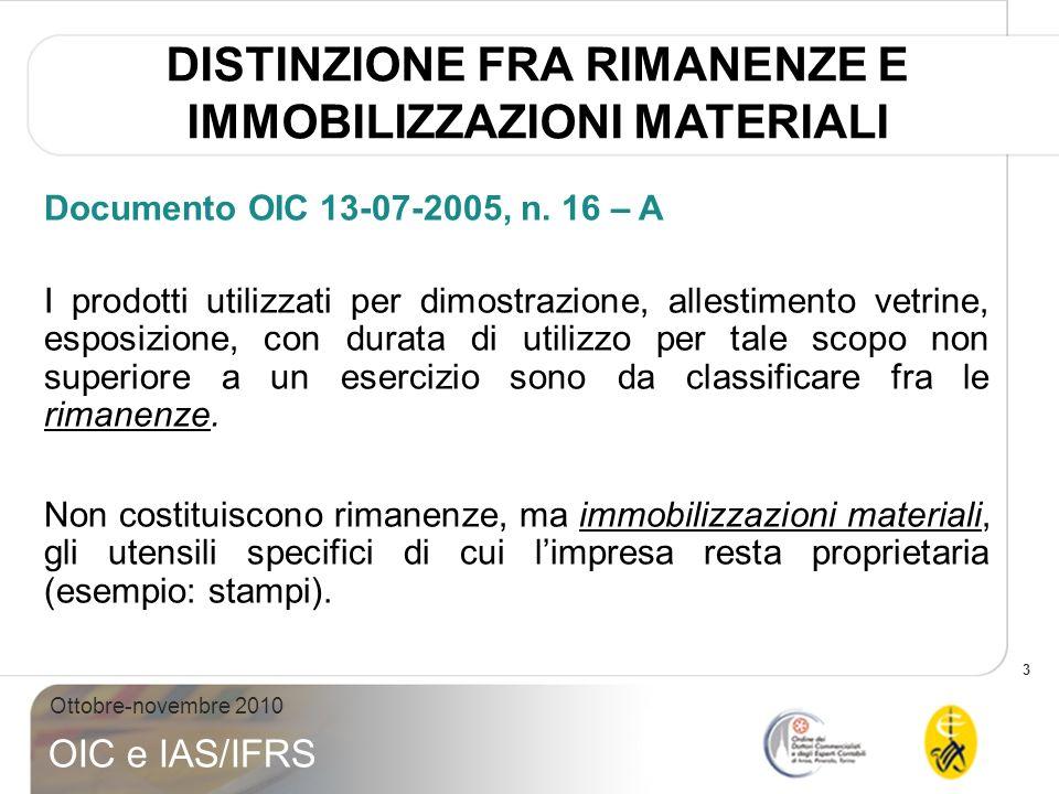 3 Ottobre-novembre 2010 OIC e IAS/IFRS Documento OIC 13-07-2005, n. 16 – A I prodotti utilizzati per dimostrazione, allestimento vetrine, esposizione,