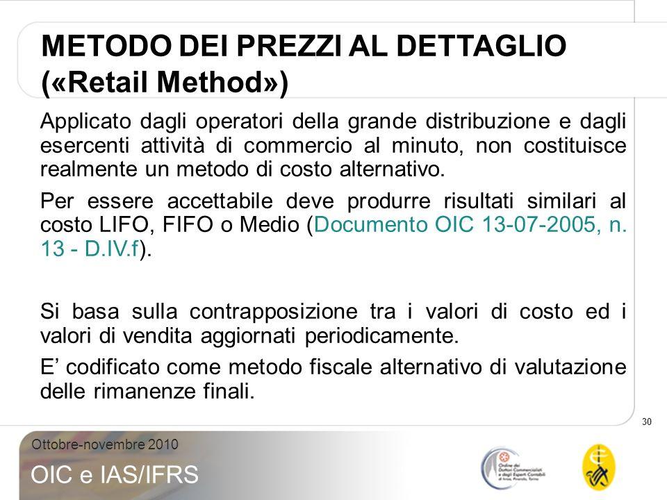 30 Ottobre-novembre 2010 OIC e IAS/IFRS Applicato dagli operatori della grande distribuzione e dagli esercenti attività di commercio al minuto, non co