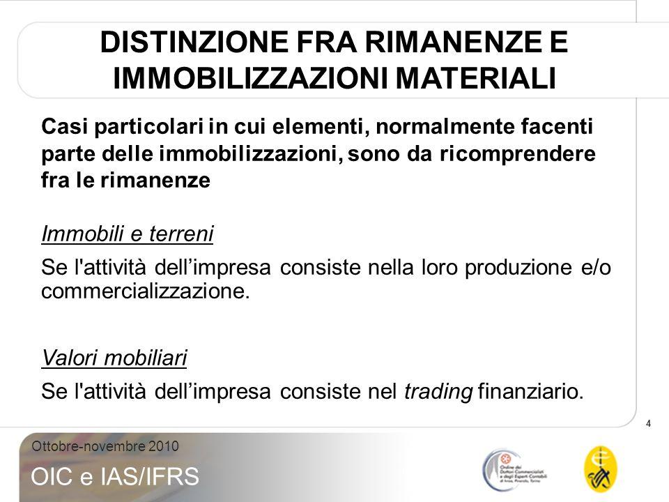 4 Ottobre-novembre 2010 OIC e IAS/IFRS Casi particolari in cui elementi, normalmente facenti parte delle immobilizzazioni, sono da ricomprendere fra l