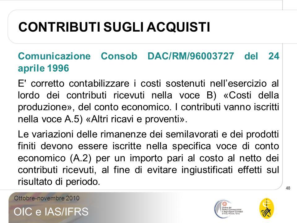 48 Ottobre-novembre 2010 OIC e IAS/IFRS Comunicazione Consob DAC/RM/96003727 del 24 aprile 1996 E' corretto contabilizzare i costi sostenuti nelleserc