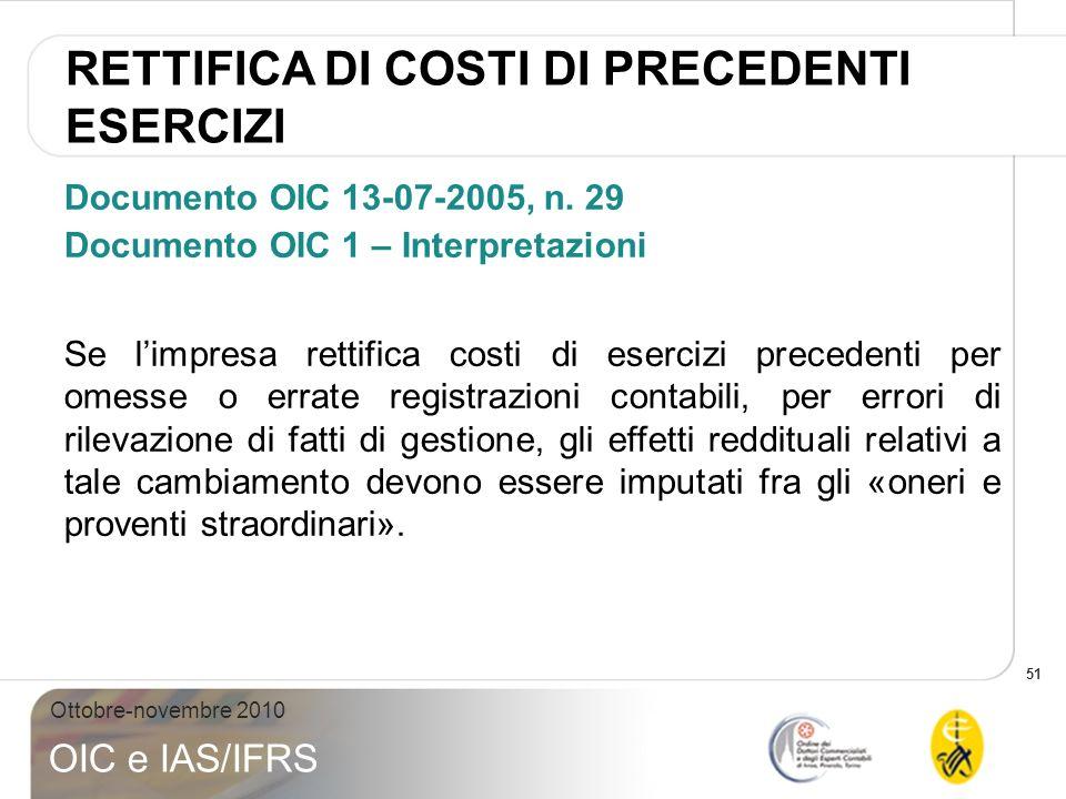 51 Ottobre-novembre 2010 OIC e IAS/IFRS Documento OIC 13-07-2005, n. 29 Documento OIC 1 – Interpretazioni Se limpresa rettifica costi di esercizi prec