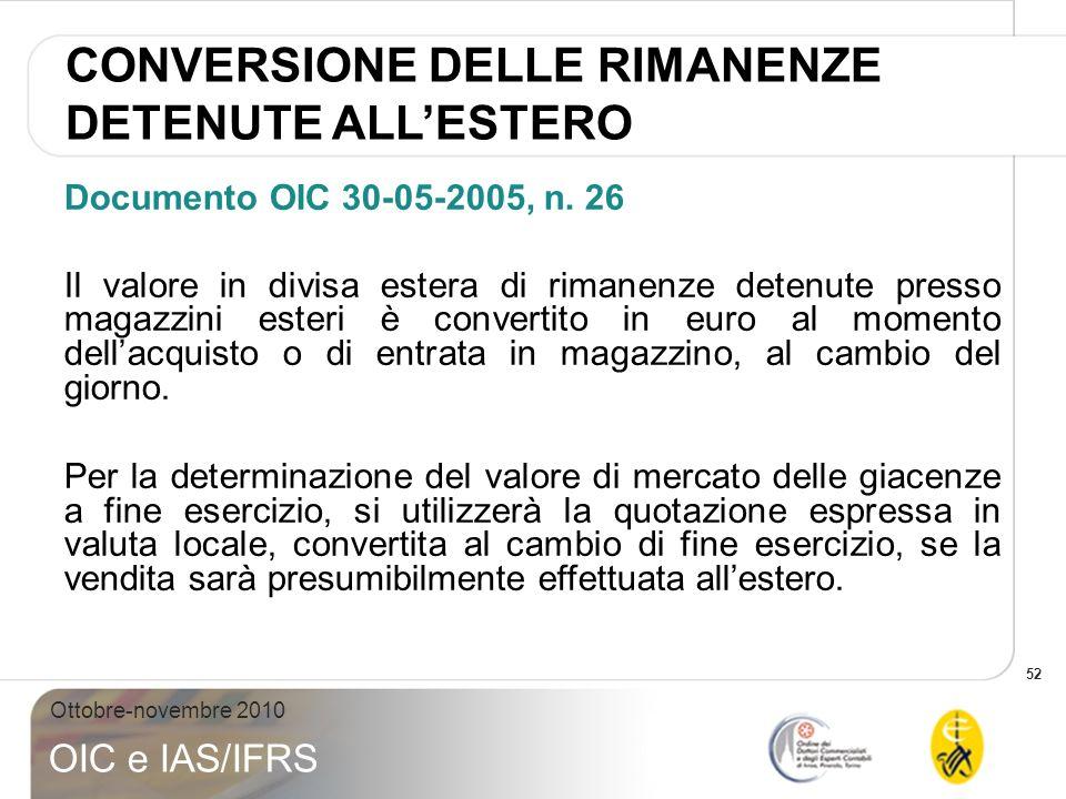 52 Ottobre-novembre 2010 OIC e IAS/IFRS Documento OIC 30-05-2005, n. 26 Il valore in divisa estera di rimanenze detenute presso magazzini esteri è con