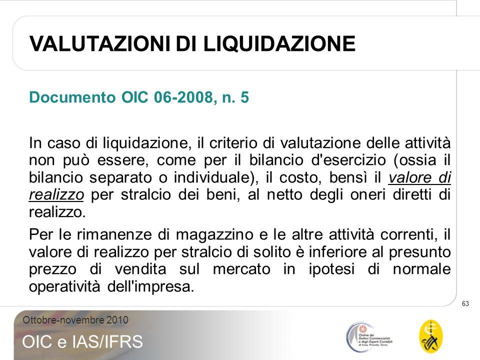 63 Ottobre-novembre 2010 OIC e IAS/IFRS Documento OIC 06-2008, n. 5 In caso di liquidazione, il criterio di valutazione delle attività non può essere,