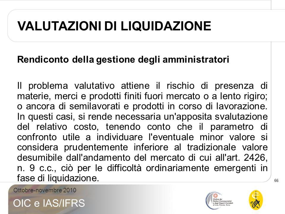 66 Ottobre-novembre 2010 OIC e IAS/IFRS Rendiconto della gestione degli amministratori Il problema valutativo attiene il rischio di presenza di materi