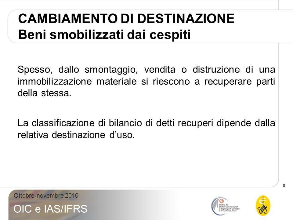 29 Ottobre-novembre 2010 OIC e IAS/IFRS Rientrano nella fattispecie anche le stoviglie e la biancheria di alberghi e ristoranti.