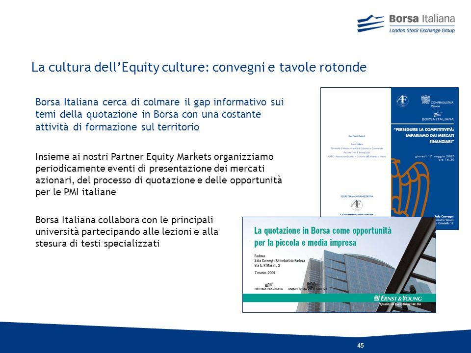 44 Il processo di avvicinamento alla Borsa - Convegni - Tavole Rotonde - Incontri individuali con Borsa Italiana Fase 1 - Progetto AS IF - Beauty Cont
