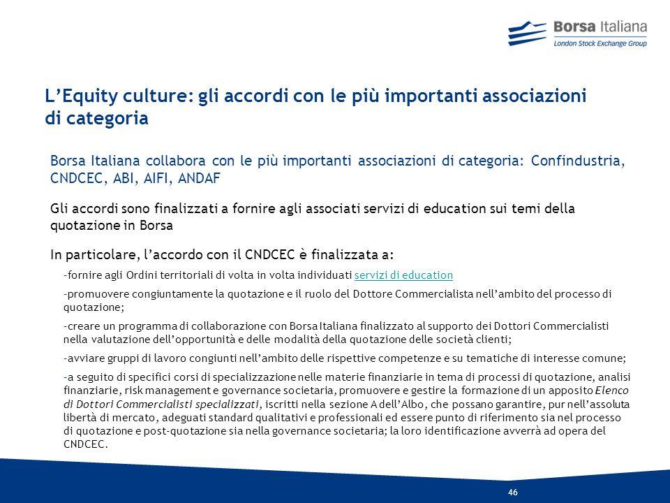 45 La cultura dellEquity culture: convegni e tavole rotonde Borsa Italiana cerca di colmare il gap informativo sui temi della quotazione in Borsa con