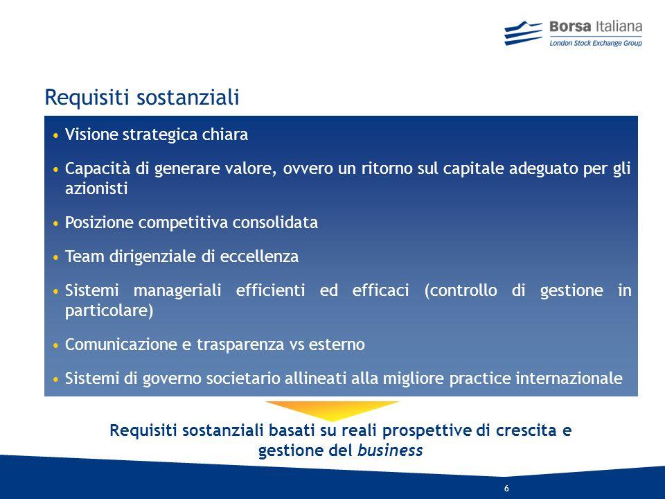 16 Chi è Il Nomad: il principale attore del processo di quotazione AIM Italia ruota intorno alla figura del Nomad, ago della bilancia del nuovo equilibrio tra investitori e imprese Banche daffari / intermediari / società / associazioni professionali che operano prevalentemente nel corporate finance Risponde ai criteri di ammissione individuati da Borsa Italiana nel Regolamento Che ruolo ha Valuta lappropriatezza della società per lammissione a AIM ITALIA Pianifica e gestisce il processo di quotazione della società Assiste la società per tutto il periodo di permanenza sul mercato Può svolgere anche il ruolo di broker Può svolgere anche il ruolo di specialist