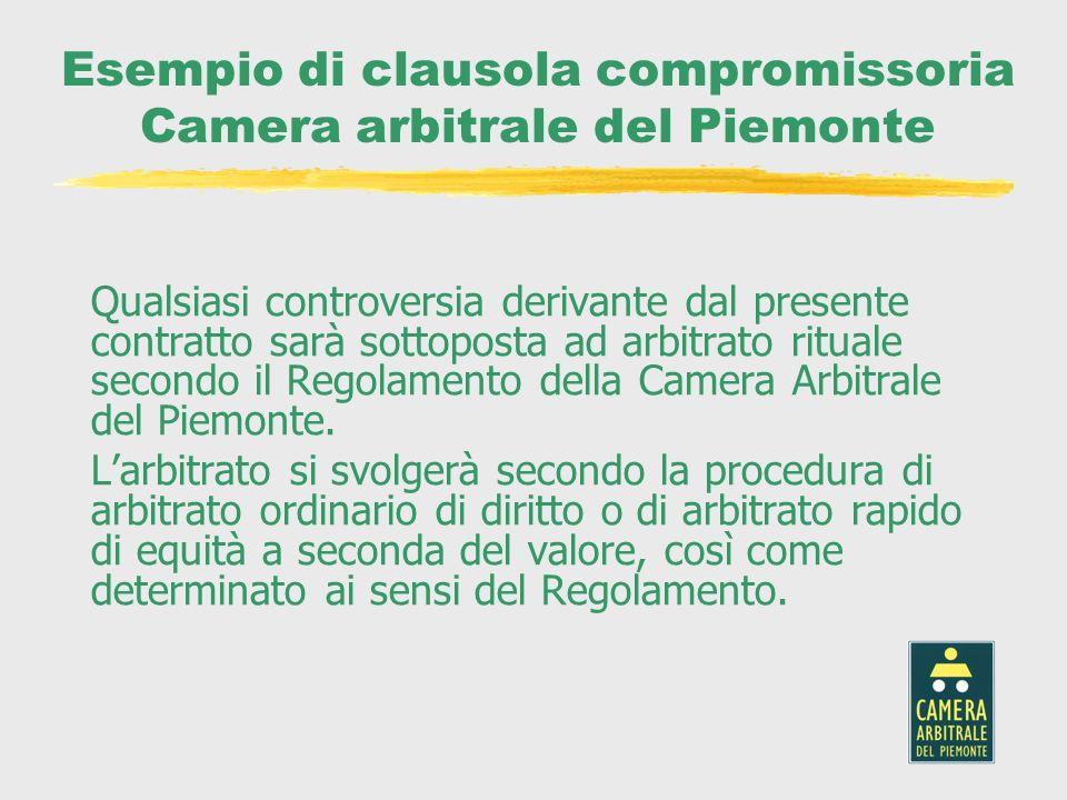 Esempio di clausola compromissoria Camera arbitrale del Piemonte Qualsiasi controversia derivante dal presente contratto sarà sottoposta ad arbitrato