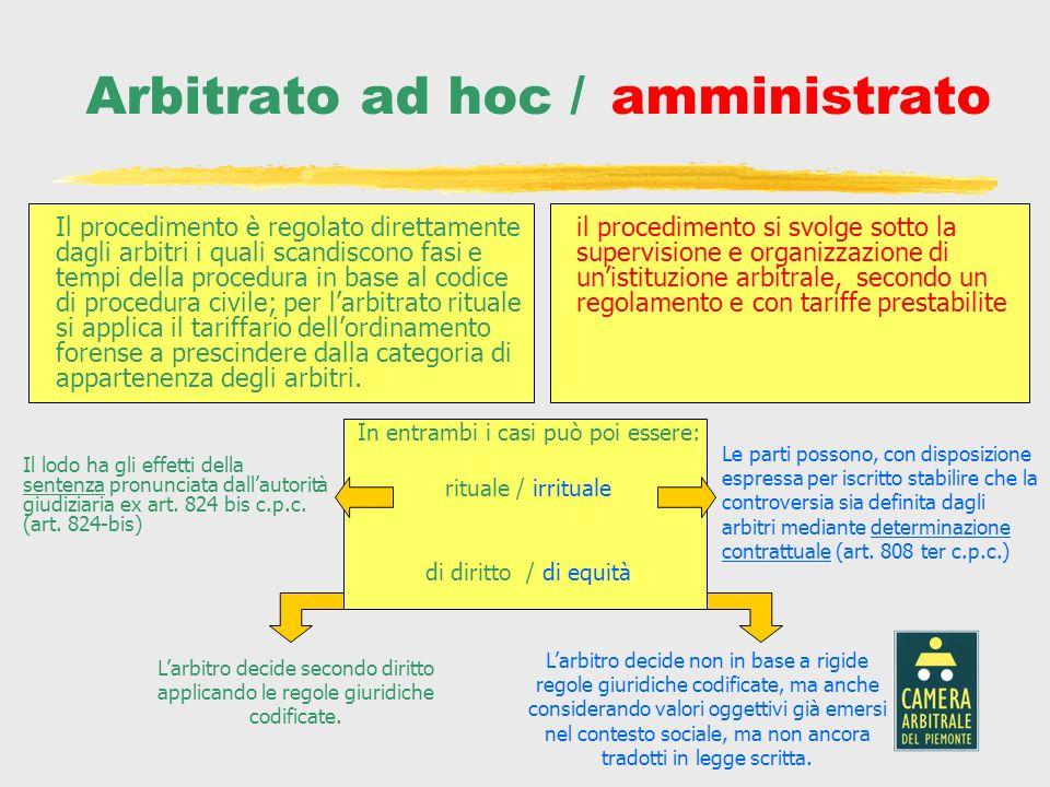 Arbitrato ad hoc / amministrato In entrambi i casi può poi essere: rituale / irrituale di diritto / di equità Il procedimento è regolato direttamente