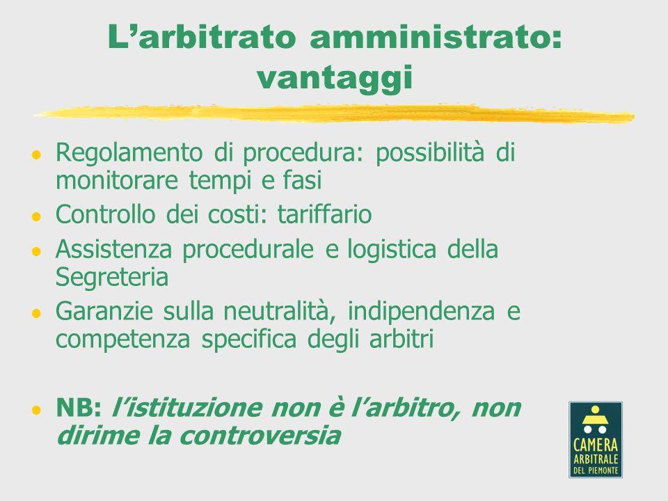 Larbitrato amministrato: vantaggi l Regolamento di procedura: possibilità di monitorare tempi e fasi l Controllo dei costi: tariffario l Assistenza pr