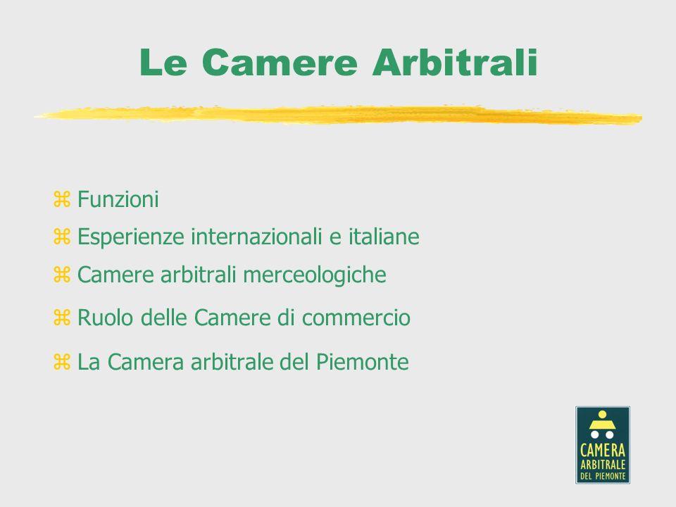 Le Camere Arbitrali zFunzioni zEsperienze internazionali e italiane zCamere arbitrali merceologiche zRuolo delle Camere di commercio zLa Camera arbitr