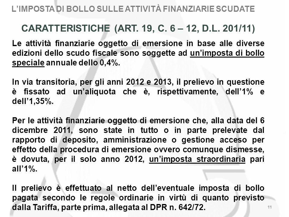 LIMPOSTA DI BOLLO SULLE ATTIVITÀ FINANZIARIE SCUDATE 11 CARATTERISTICHE (ART.