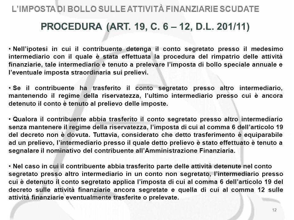 12 PROCEDURA (ART. 19, C. 6 – 12, D.L.