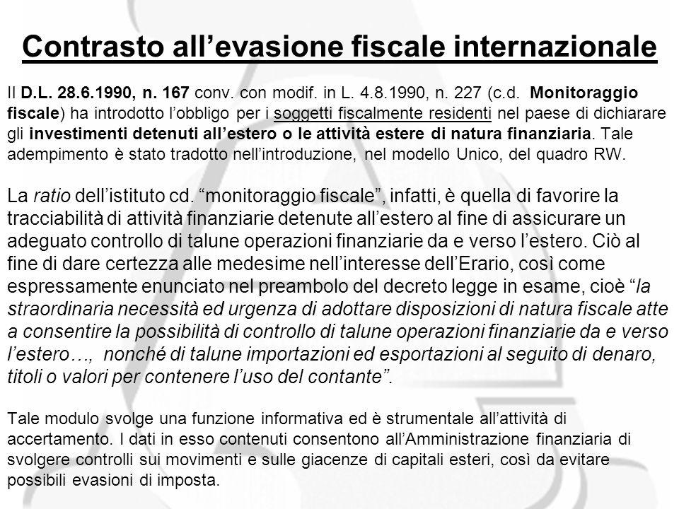 Contrasto allevasione fiscale internazionale Il D.L.