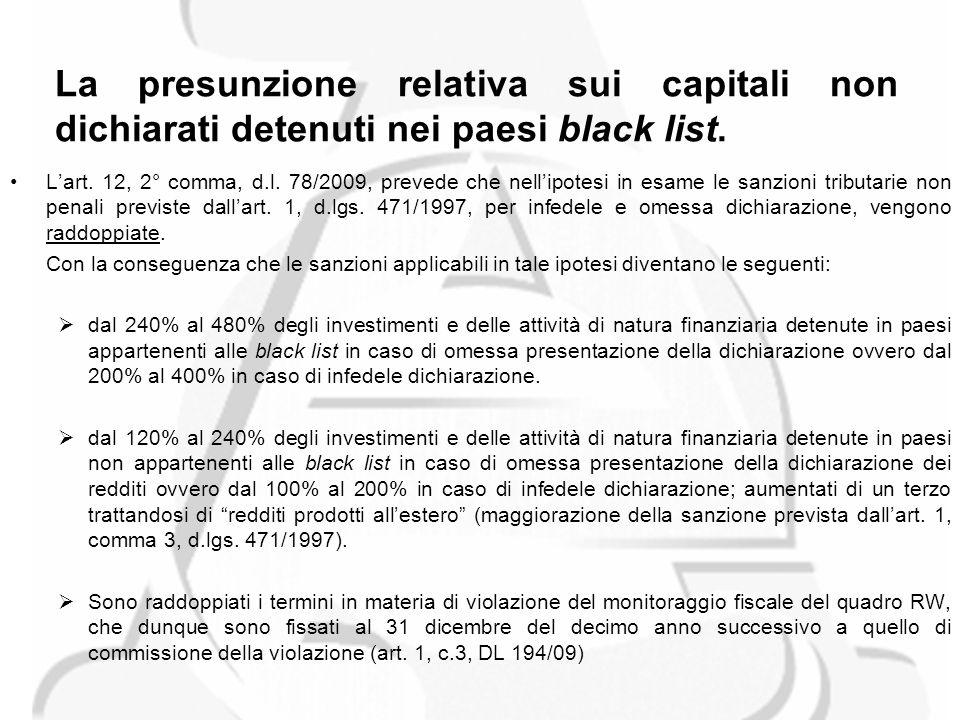 La presunzione relativa sui capitali non dichiarati detenuti nei paesi black list.