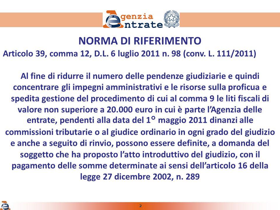2 NORMA DI RIFERIMENTO Articolo 39, comma 12, D.L.