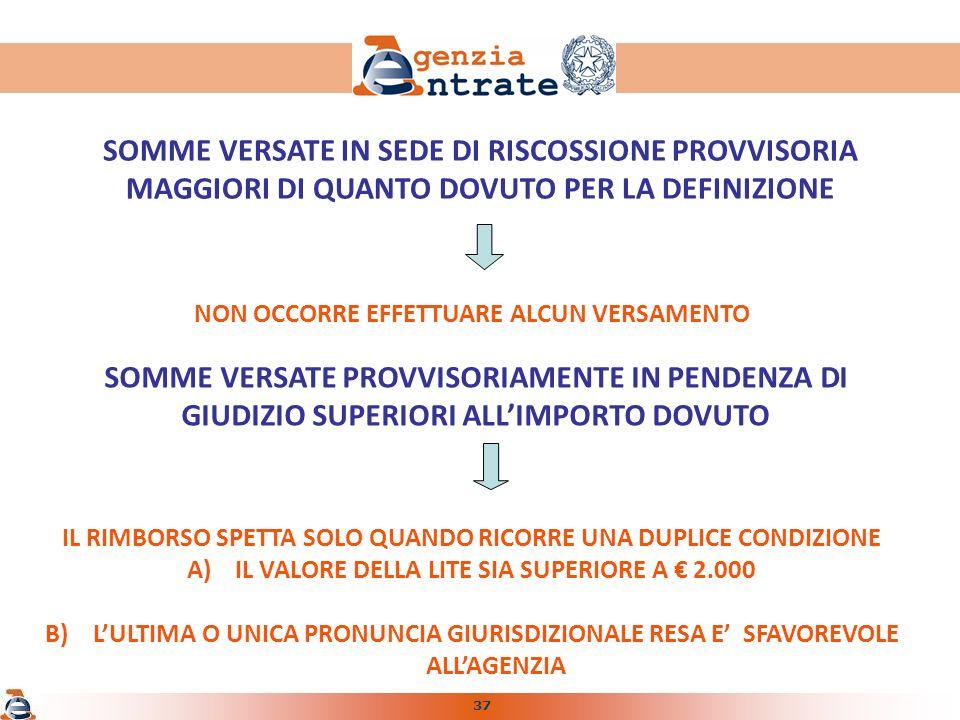 37 SOMME VERSATE IN SEDE DI RISCOSSIONE PROVVISORIA MAGGIORI DI QUANTO DOVUTO PER LA DEFINIZIONE NON OCCORRE EFFETTUARE ALCUN VERSAMENTO IL RIMBORSO SPETTA SOLO QUANDO RICORRE UNA DUPLICE CONDIZIONE A)IL VALORE DELLA LITE SIA SUPERIORE A 2.000 B)LULTIMA O UNICA PRONUNCIA GIURISDIZIONALE RESA E SFAVOREVOLE ALLAGENZIA SOMME VERSATE PROVVISORIAMENTE IN PENDENZA DI GIUDIZIO SUPERIORI ALLIMPORTO DOVUTO
