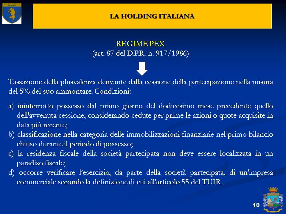 LA HOLDING ITALIANA 10 REGIME PEX (art. 87 del D.P.R. n. 917/1986) Tassazione della plusvalenza derivante dalla cessione della partecipazione nella mi