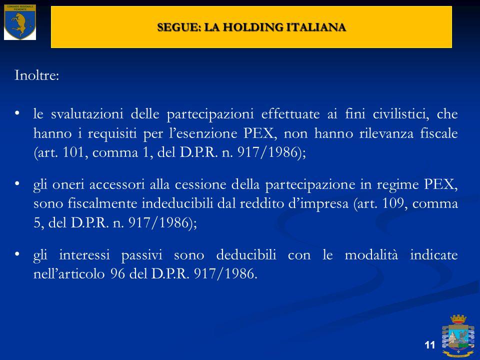 SEGUE: LA HOLDING ITALIANA 11 Inoltre: le svalutazioni delle partecipazioni effettuate ai fini civilistici, che hanno i requisiti per lesenzione PEX,