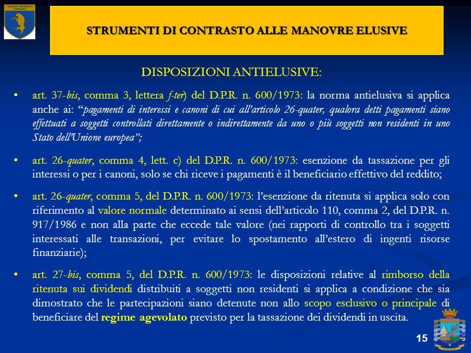 STRUMENTI DI CONTRASTO ALLE MANOVRE ELUSIVE 15 DISPOSIZIONI ANTIELUSIVE: art. 37-bis, comma 3, lettera f-ter) del D.P.R. n. 600/1973: la norma antielu