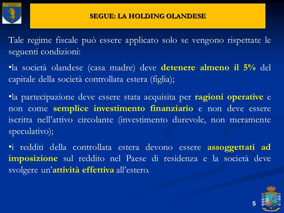 SEGUE: LA HOLDING OLANDESE 5 Tale regime fiscale può essere applicato solo se vengono rispettate le seguenti condizioni: la società olandese (casa mad