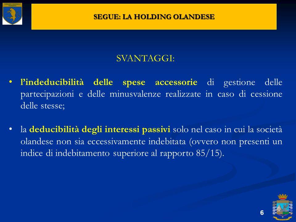 SEGUE: LA HOLDING OLANDESE 6 SVANTAGGI: lindeducibilità delle spese accessorie di gestione delle partecipazioni e delle minusvalenze realizzate in cas