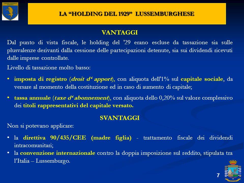 LA HOLDING DEL 1929 LUSSEMBURGHESE 7 VANTAGGI Dal punto di vista fiscale, le holding del '29 erano escluse da tassazione sia sulle plusvalenze derivan
