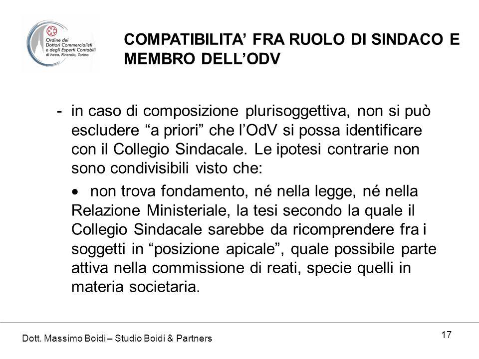 17 COMPATIBILITA FRA RUOLO DI SINDACO E MEMBRO DELLODV -in caso di composizione plurisoggettiva, non si può escludere a priori che lOdV si possa identificare con il Collegio Sindacale.