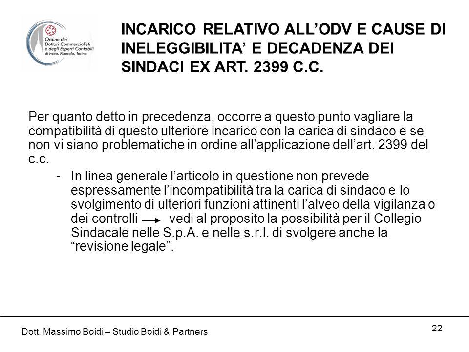 22 INCARICO RELATIVO ALLODV E CAUSE DI INELEGGIBILITA E DECADENZA DEI SINDACI EX ART.
