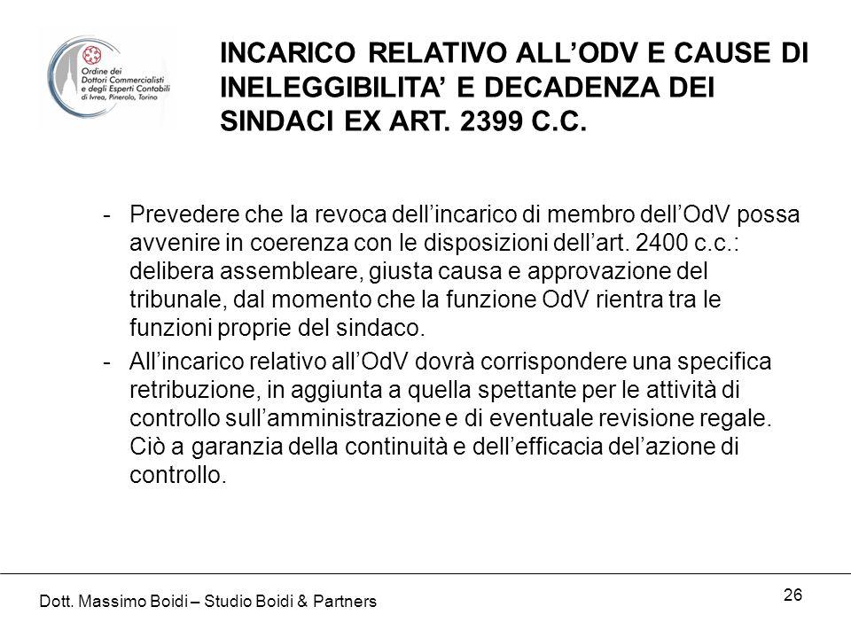 26 INCARICO RELATIVO ALLODV E CAUSE DI INELEGGIBILITA E DECADENZA DEI SINDACI EX ART.