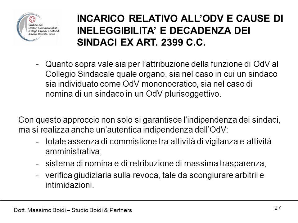 27 INCARICO RELATIVO ALLODV E CAUSE DI INELEGGIBILITA E DECADENZA DEI SINDACI EX ART.