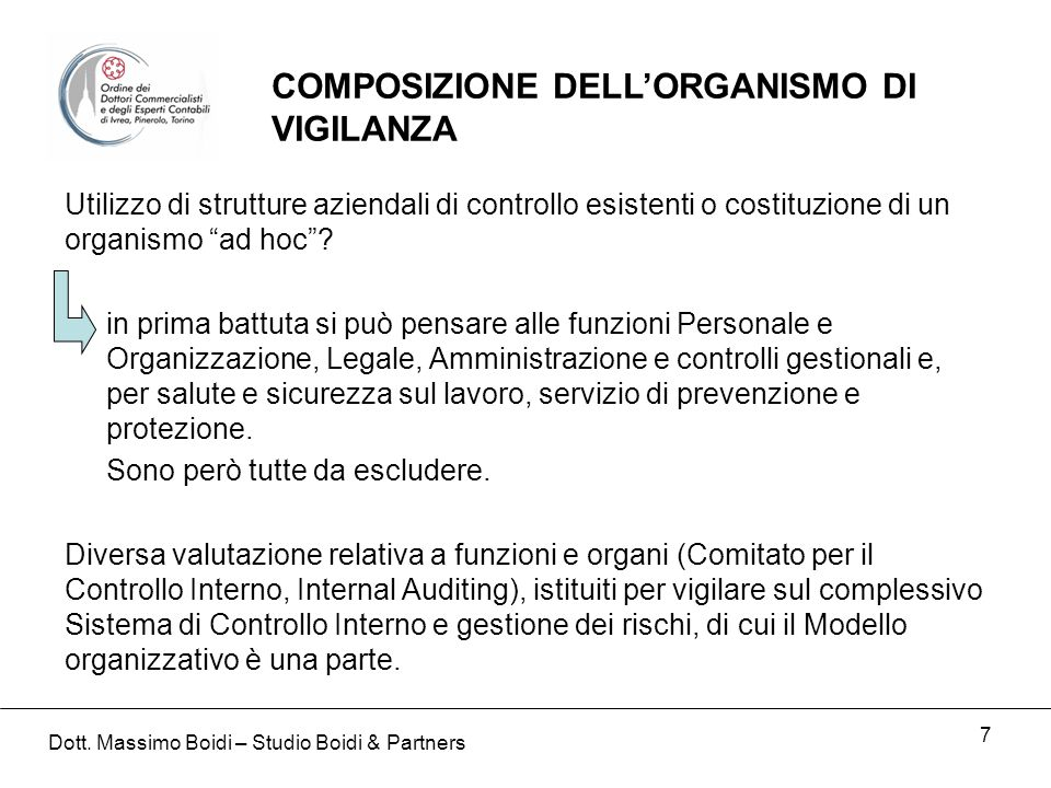 7 Utilizzo di strutture aziendali di controllo esistenti o costituzione di un organismo ad hoc.