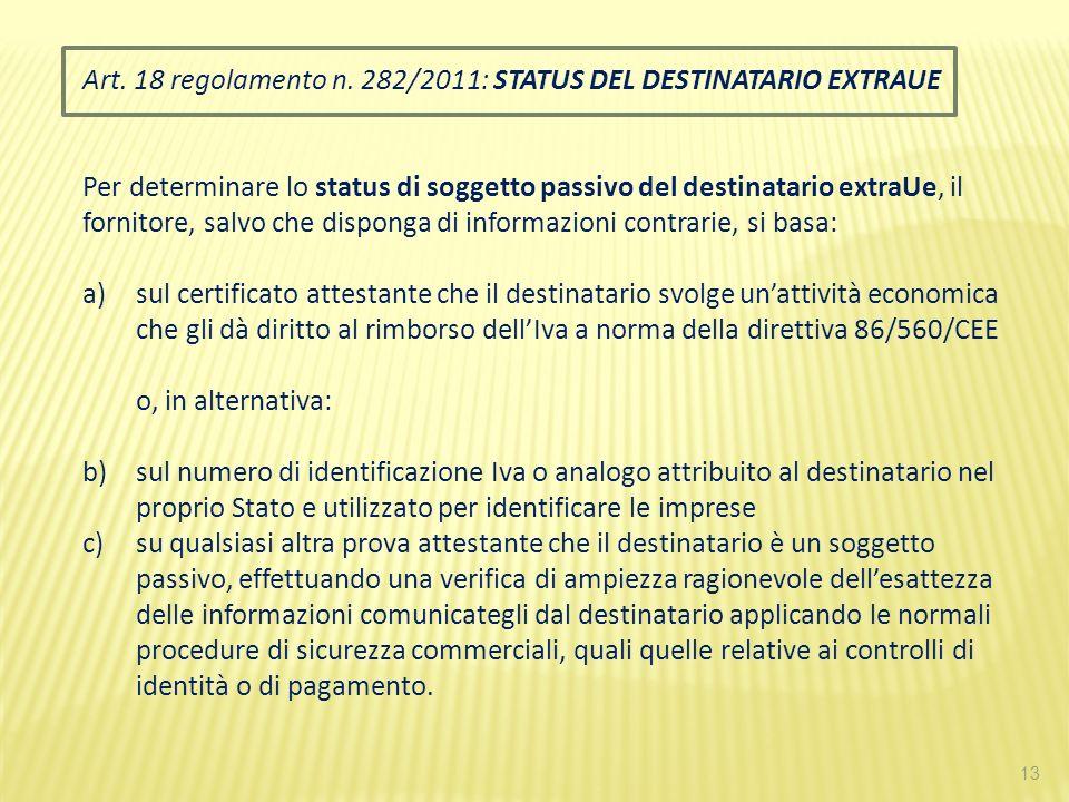 13 Art. 18 regolamento n. 282/2011: STATUS DEL DESTINATARIO EXTRAUE Per determinare lo status di soggetto passivo del destinatario extraUe, il fornito