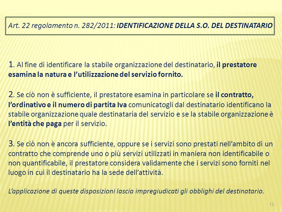 15 Art. 22 regolamento n. 282/2011: IDENTIFICAZIONE DELLA S.O. DEL DESTINATARIO 1. Al fine di identificare la stabile organizzazione del destinatario,