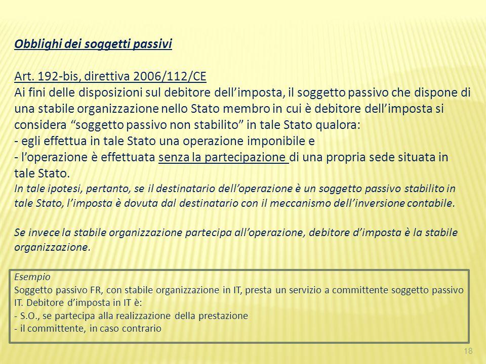 18 Obblighi dei soggetti passivi Art. 192-bis, direttiva 2006/112/CE Ai fini delle disposizioni sul debitore dellimposta, il soggetto passivo che disp