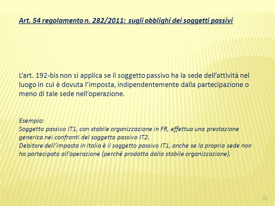 20 Art. 54 regolamento n. 282/2011: sugli obblighi dei soggetti passivi Lart. 192-bis non si applica se il soggetto passivo ha la sede dellattività ne