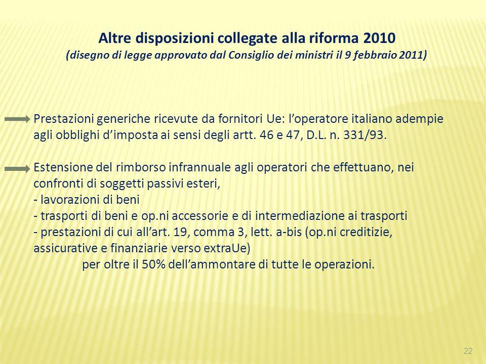 22 Altre disposizioni collegate alla riforma 2010 (disegno di legge approvato dal Consiglio dei ministri il 9 febbraio 2011) Prestazioni generiche ric