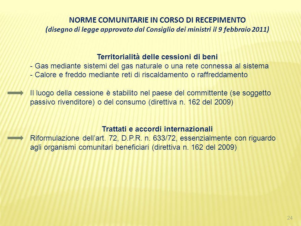 24 NORME COMUNITARIE IN CORSO DI RECEPIMENTO (disegno di legge approvato dal Consiglio dei ministri il 9 febbraio 2011) Territorialità delle cessioni