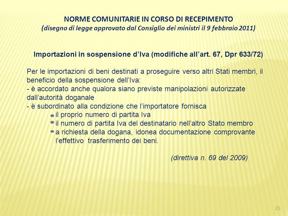 25 NORME COMUNITARIE IN CORSO DI RECEPIMENTO (disegno di legge approvato dal Consiglio dei ministri il 9 febbraio 2011) Importazioni in sospensione dI